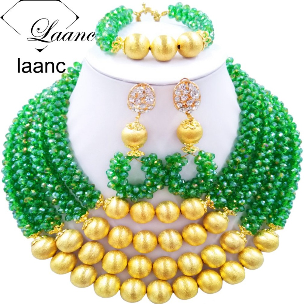 Brand Laanc Indian Bridal Nigerian Wedding African Beads Jewelry Set Crystal Green AB with Gold Ball Dubai Jewellery Sets AL210