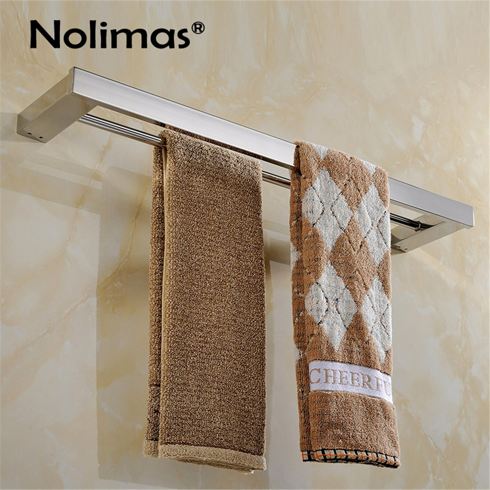 2017 SUS 304 Stainless Steel Mirror Surface Double Towel Bar Square Towel Rack In The Bathroom Wall Mounted Towel Holder 304 stainless steel bathroom towel rack bar hangers more