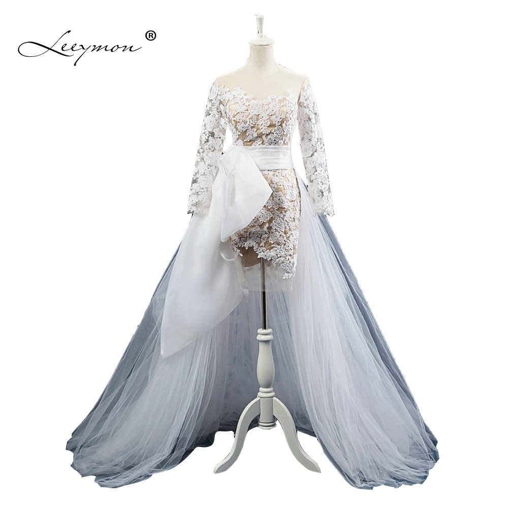 Detachable Trains For Wedding Gowns: Leeymon Short Wedding Dress 2017 Long Sleeves Lace Wedding