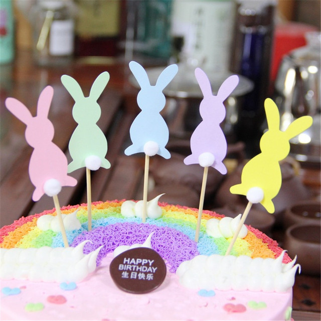 CRLEY 10pcs Lot Cake Toppers Pink Blue Green Bunny Birthday Cakes Home Decor Wedding Party Baby Shower Gift