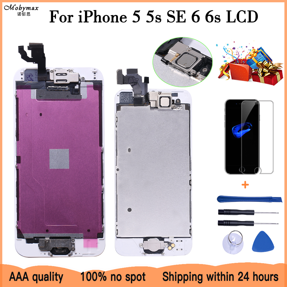 Full Assembly LCD Display For IPhone 5 5s SE 6 6s Touch Screen Digitizer Replacement With Home Button Front Camera Complete LCD
