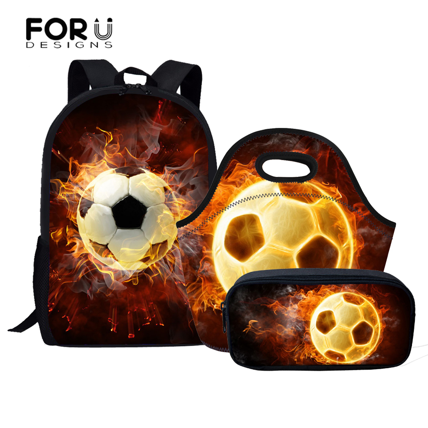 FORUDESIGNS 3PCS/Set Schoolbags For Boys Girls Cool Fire Ball Primary Student School Backpacks Children Bookbag for Kids Mochila