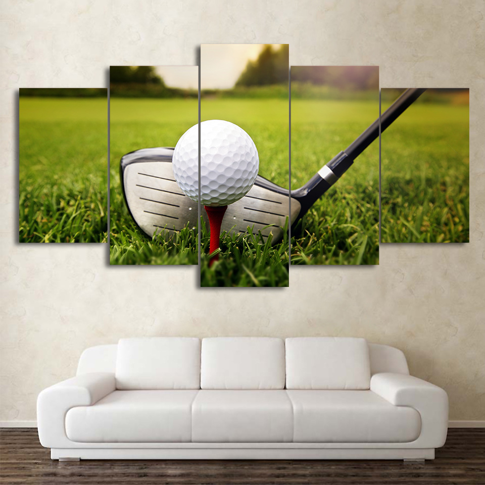 HD Printed 5 Piece Canvas Art Golf Course Painting Clubs Wall Pictures Decor No Framed Modular Painting Free Shipping