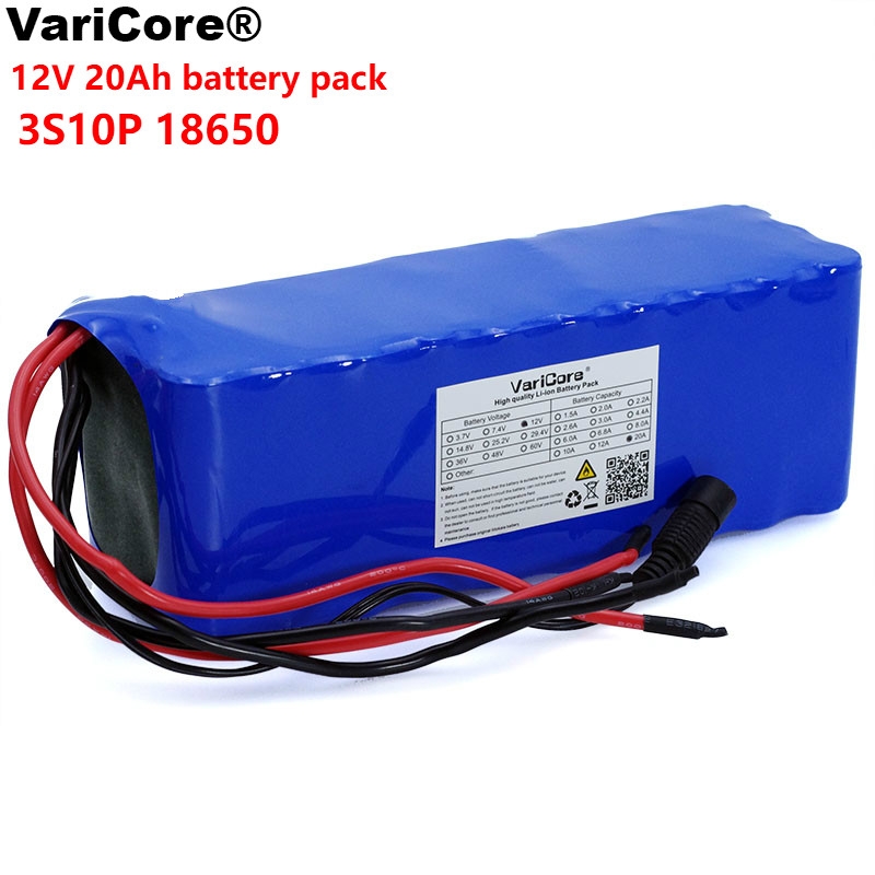 VariCore 12V 20Ah 18650 Lithium Battery Pack 12 6v 20000mah Capacity Miner s Lamp 100w 800W