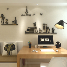 2018 new Creative bookshelf 3D three-dimensional crystal wall sticking living room sofa TV background