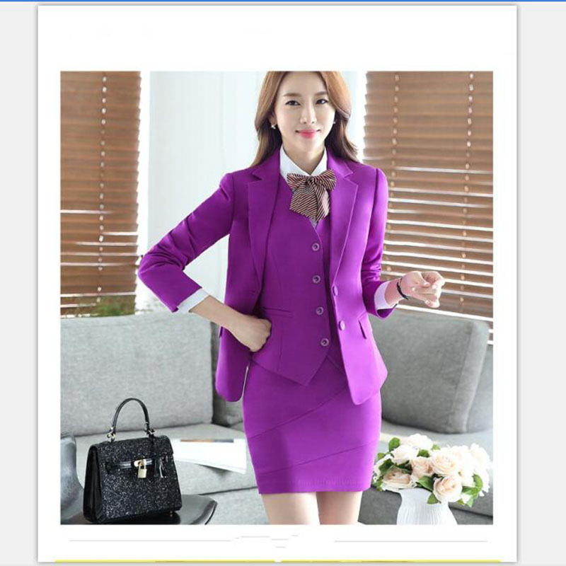office skirt suit lady airlines wear hotel bank uniform red purple grey black 3pcs set b ...
