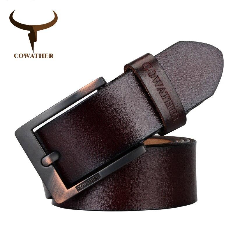 COWATHER 2017 ceintures pour hommes de haute qualité de vache véritable en cuir vintage Nouvelle designer boucle ardillon ceinture hommes ceintures de luxe XF003-4