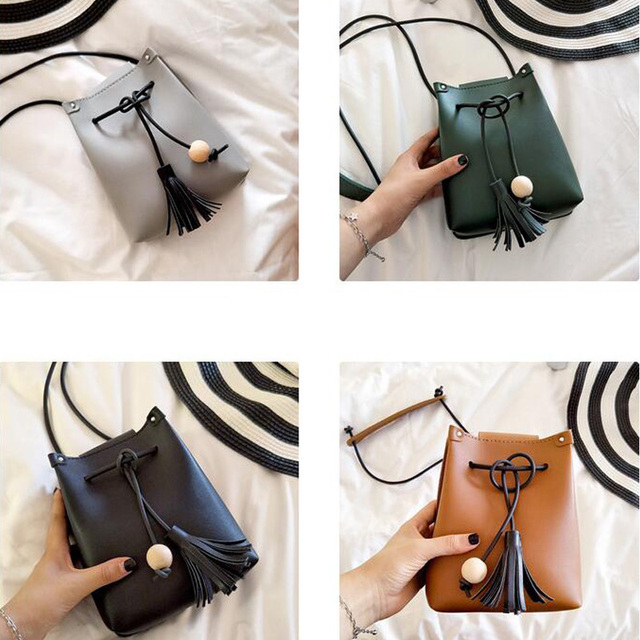 Mini Drawstring Flap Bag in Women's Crossbody Bag PU Leather Shoulder Sling Bags Ladies Green Wood beads Tassel Messenger Bags 5