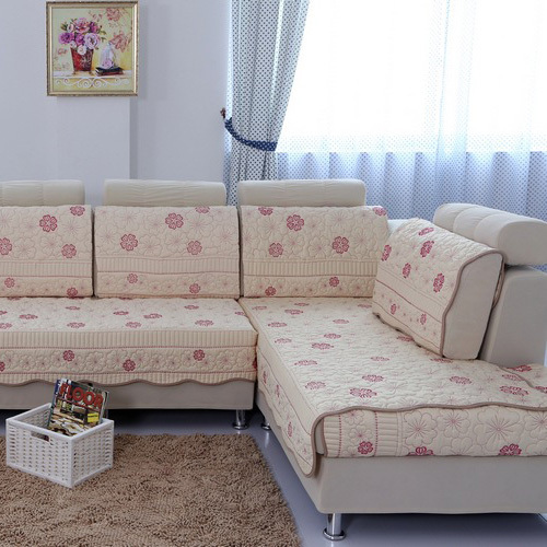 Pastoral Fabric Cotton Sofa Cloth Flower Sectional Sofa