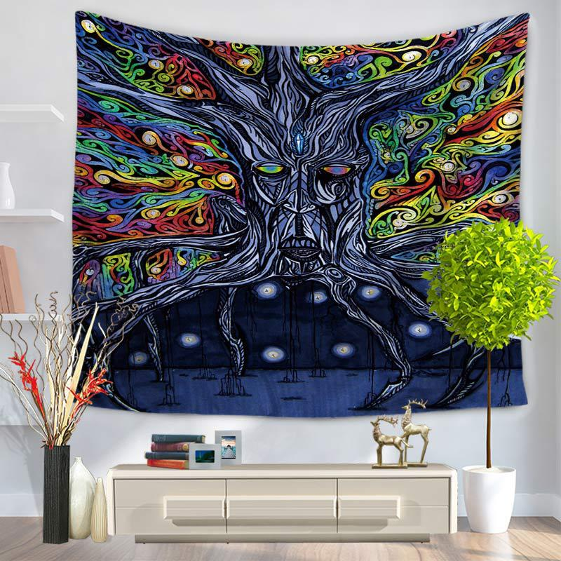 RUBIHOME Hanging Wall Tapestry 3D Design Colored Tree Home