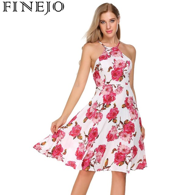 FINEJO Floral Print Vintage Dress 2017 New Fashion Casual Women Summer Dress  80s Sleeveless Belted Party Dresses Vestidos ac8daf1aebe7