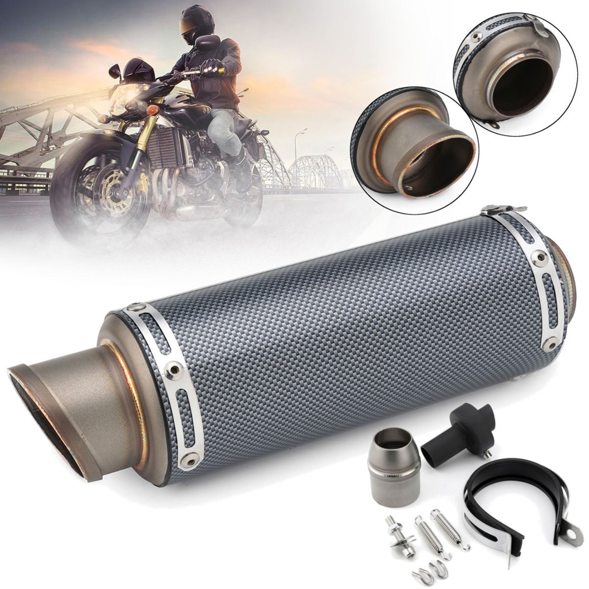 38~51mm Universal Carbon Fiber Titunium Stainless Steel Exhaust Muffler Pipe Kit For Motorcycle ATV Dirt Bike Scooter Quad