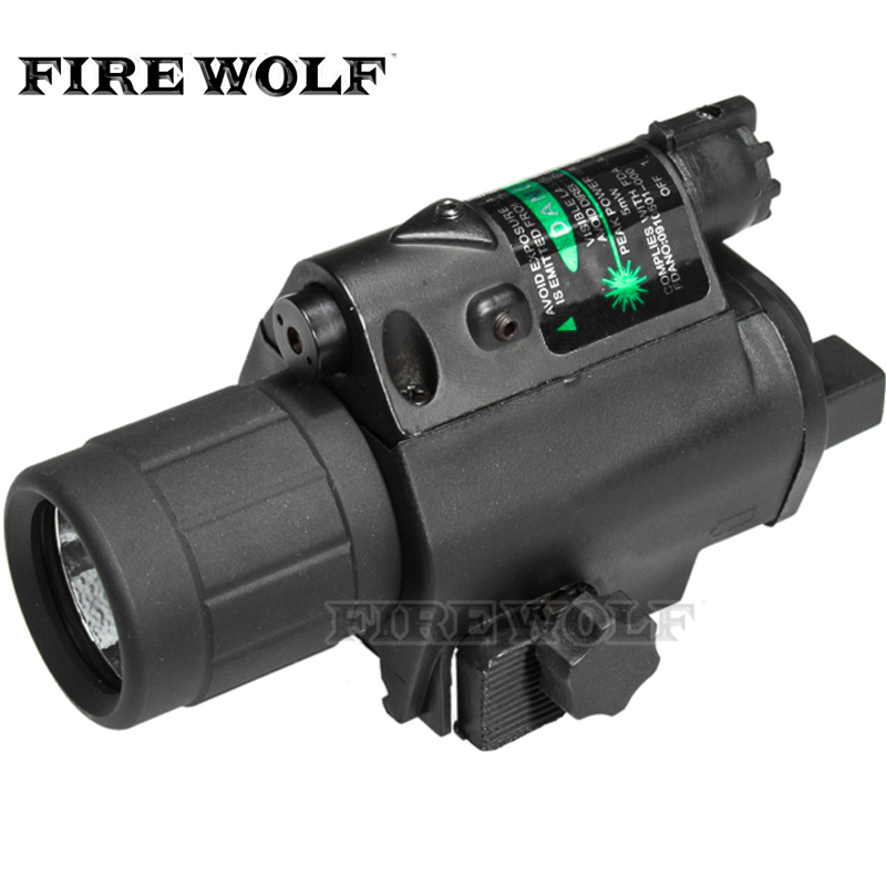 FIRE WOLF Hunting  Tactical LED Pistol Flashlight Green Laser Combo Handgun Sight 200 Lumens Weapon Light Fit with 3 Mode Switch