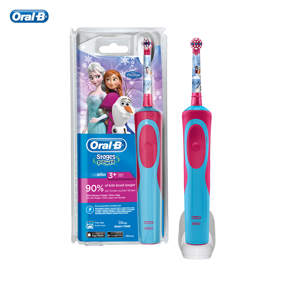 Oral B Stages Power Kids Children Electric Toothbrush Rechargeable with Frozen Characters Spanish Dentist First Recommend image
