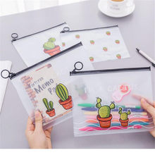 Cartoon Multi-action Transparent Matte Cosmetic Bag Lovely Cactus Ring Pocket Student Pencil Bag Stationery Bag Gifts(China)