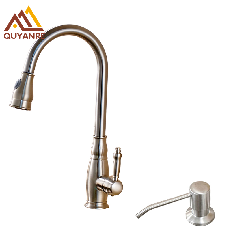Brushed Nickle Mixer Faucet with Kitchen Sink Soap Dispenser Sprayer Nozzle Water Tap Deck Mounted