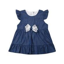 Джинсовое платье-боди для маленьких девочек; летние комбинезоны без рукавов с кружевными рюшами и бантом для малышей; повседневные комбинезоны для новорожденных; одежда