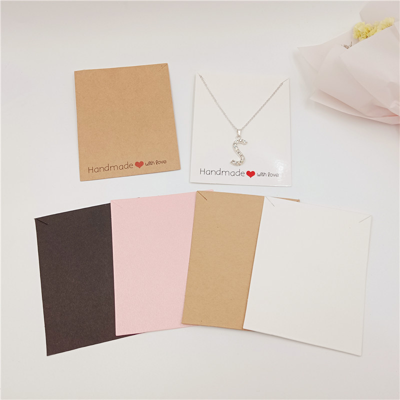 50Pcs/Lot Kraft Paper Necklace Cards Printed Colorful Display Big Size Cards Jewelry Packaging Cards Custom Logo Gift Decoration