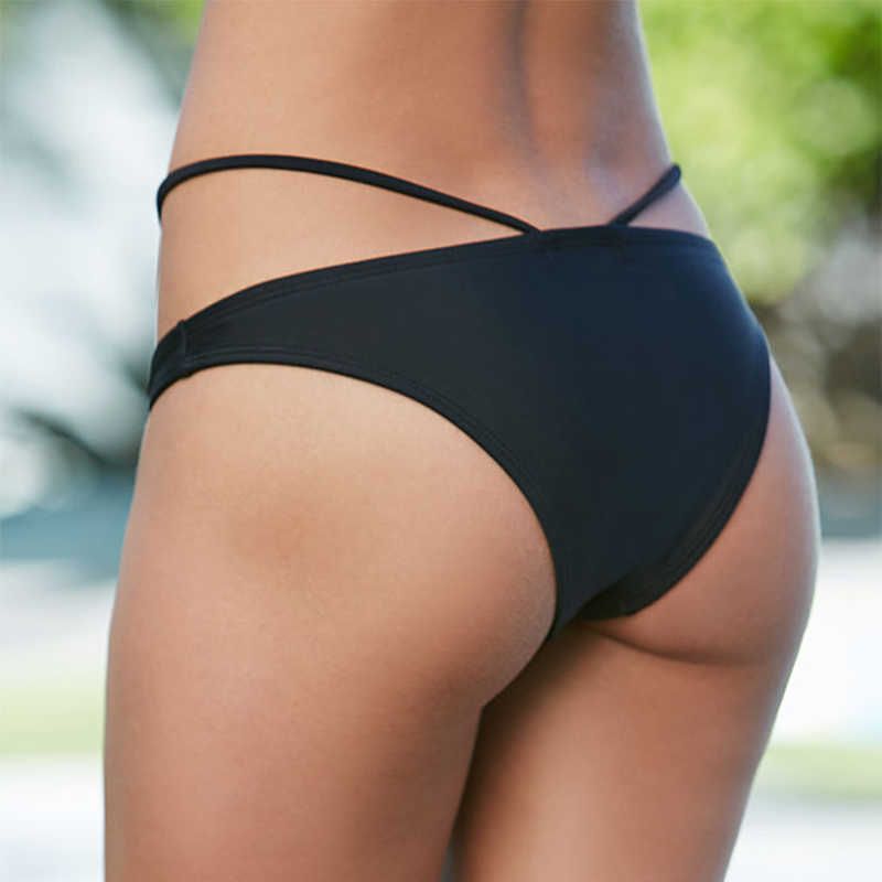 女性のセクシーな黒ビキニボトム水着 2018 新固体包帯水着水泳パンツ水着ビキニマイヨ · デ · ベイン水着