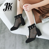 JK 2019 New Summer/Spring Thick Med Heel Female Footwear Mesh Ruffles Ankle Boots Pearl Boots Round Toe Zipper Woman Shoes