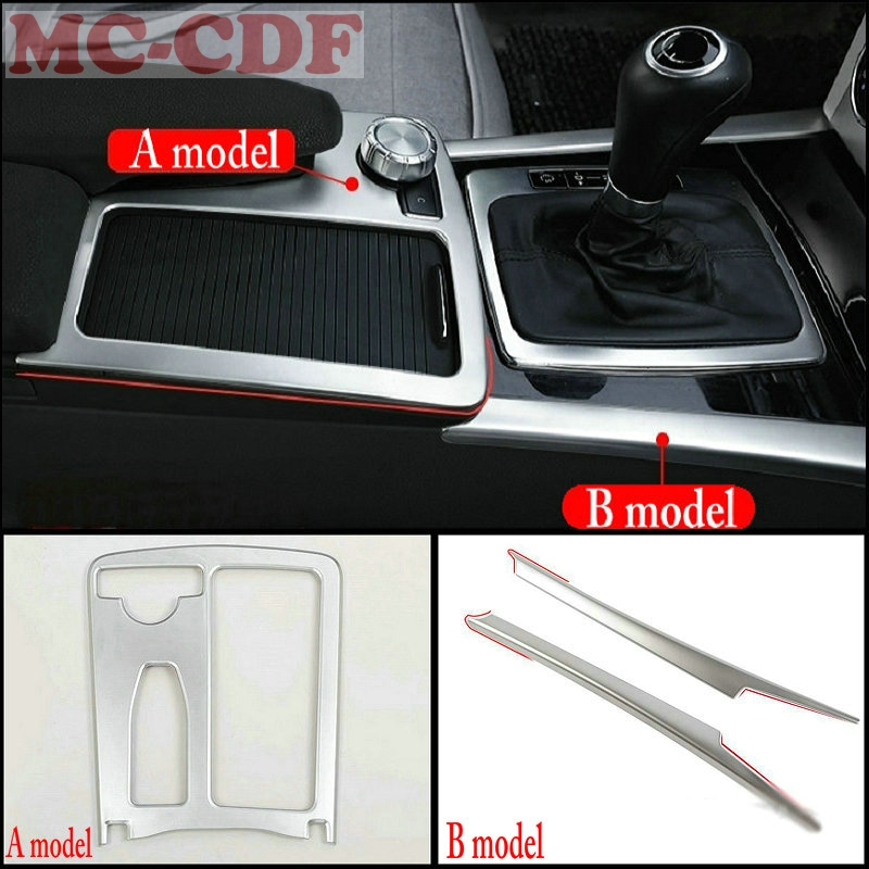 Accessories stainless steel water cup holder panel gear shift panel decorative strip frame for Mercedes Benz W204 W212 C180 C200