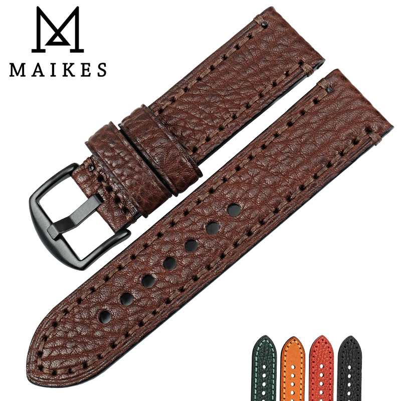 MAIKES Watch accessories brown quality leather watch band 20mm 22mm 24mm 26mm watchband men watch strap Bracelet for Panerai new matte red gray blue leather watchband 22mm 24mm 26mm retro strap handmade men s watch straps for panerai