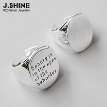JShine Authentic 925 Sterling Silver Oval Brushed Glossy Open Finger Ring Statement Wide Rings Women Decorations
