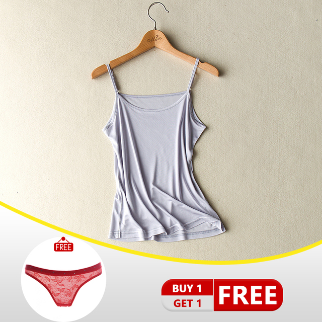 soft Nature Silk Women Simple Thin Camisoles 5 Colors Backless Casual O-Neck Real Silk Sling Ladies Bottoming LVFAN JSC-006