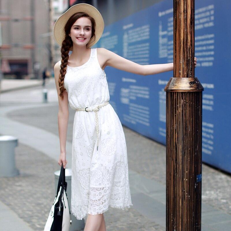 Buy 2017 Summer Style New Design Fashion White Beach Lace Dress Women Hollow