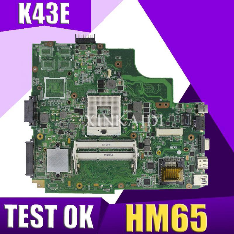 XinKaidi K43SD/K43E Laptop motherboard para ASUS K43E K43SD A43E P43E Teste mainboard original HM65