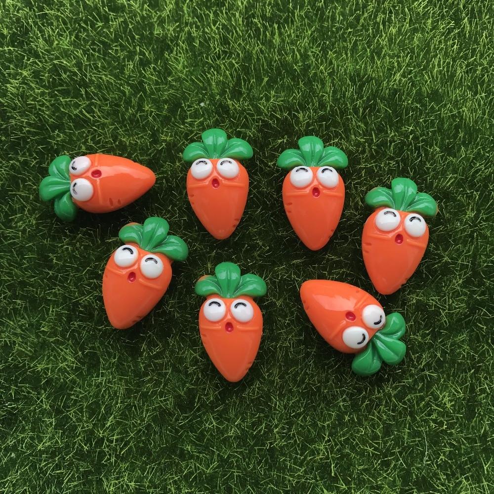 20pcs/lot Kawaii Flat Back Resin Carrots  DIY Resin Cabochons Accessories
