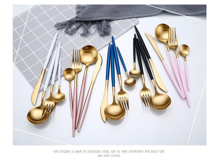 Talheres Inox com Design Moderno e Coloridos - Kit com 4 peças