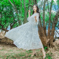 Flare Sleeve Dress Woman 2017 Summer Casual Elegante Light Grey Dress Mesh Embroidery Flower Lace Dress