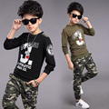 2017 Spring fall fashionable classic children's casual suit boys printed letters 3 stars sweater camouflage pants two-piece