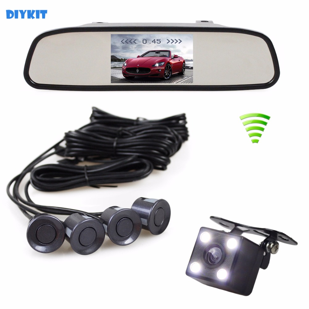 DIYKIT Wireless Video Parking Radar 4 Sensors 4.3 Inch Car Mirror Monitor + 4 x LED Car Rear View Camera Parking Assistance