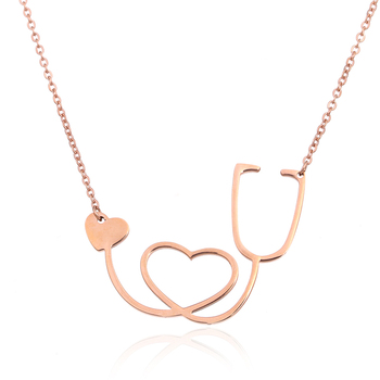 Womens Love Heart Choker Necklace Fashion Medical Stethoscope Neclaces & Pendants for Women/Girl Dropshipping Bijoux Femme Gift