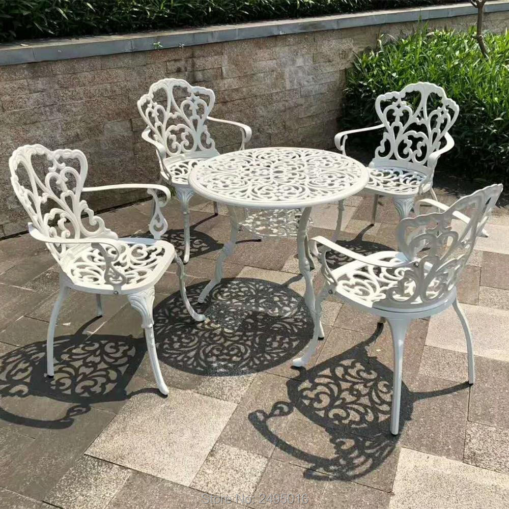 Outdoor 5 Piece Cast Aluminum Dining Set, Table In Size 31.5 Inch With Four Chiairs ,umbrella Holes .