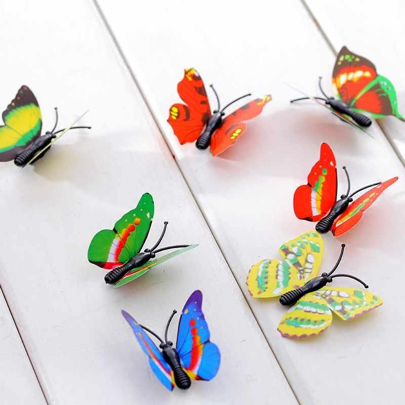12 adet Renkli Mıknatıs 3D PVC Çiçek Kelebek duvar çıkartmaları Kız Çocuklar Için Bebek Odaları Mutfak Ev Dekorasyon Yapıştırıcı Duvar