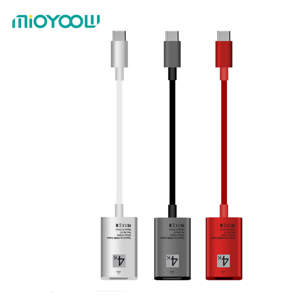 Type-c To HDMI HD Adapter Red Cable USB 3.1 To HDMI Plug Play 4k HD Video Cable For Samsung Xiaomi Mobile Phone Computer PC телевизор 28 samsung lt28e310ex hd 1366x768 vga usb hdmi черный