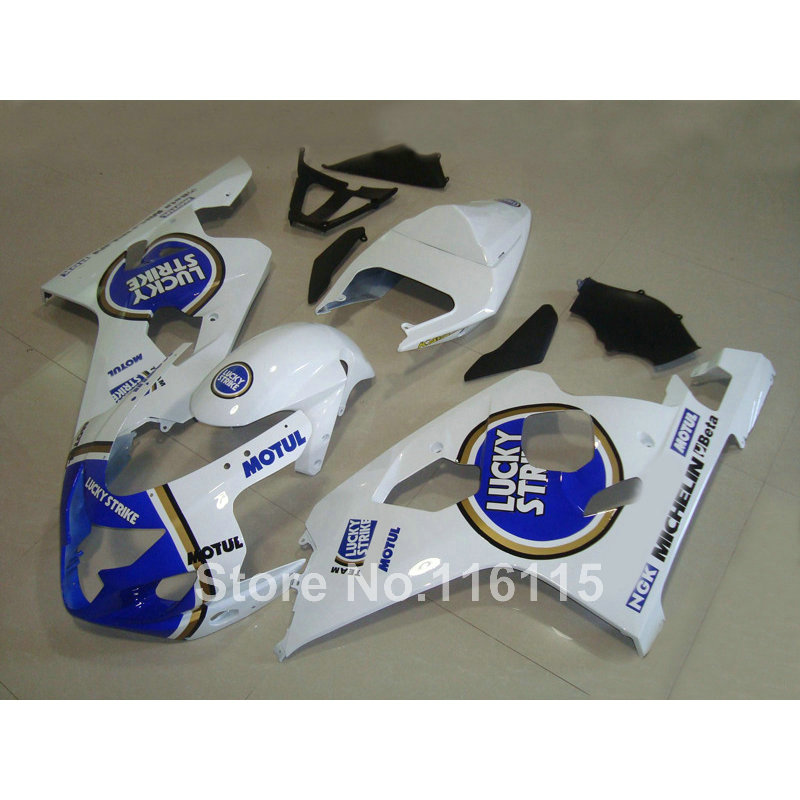 ABS fairing kit for suzuki <font><b>GSXR</b></font> <font><b>600</b></font> 750 K4 <font><b>2004</b></font> 2005 fairings GSXR600 GSXR750 04 05 blue white LUCKY STRIKE Q76 image