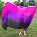 250*114 см танец живота реальная Шелковые Вуали 3 Градиент цвета Шелковый Шарф Стороны для Танцоров танец живота аксессуары покрывалами высокое качество