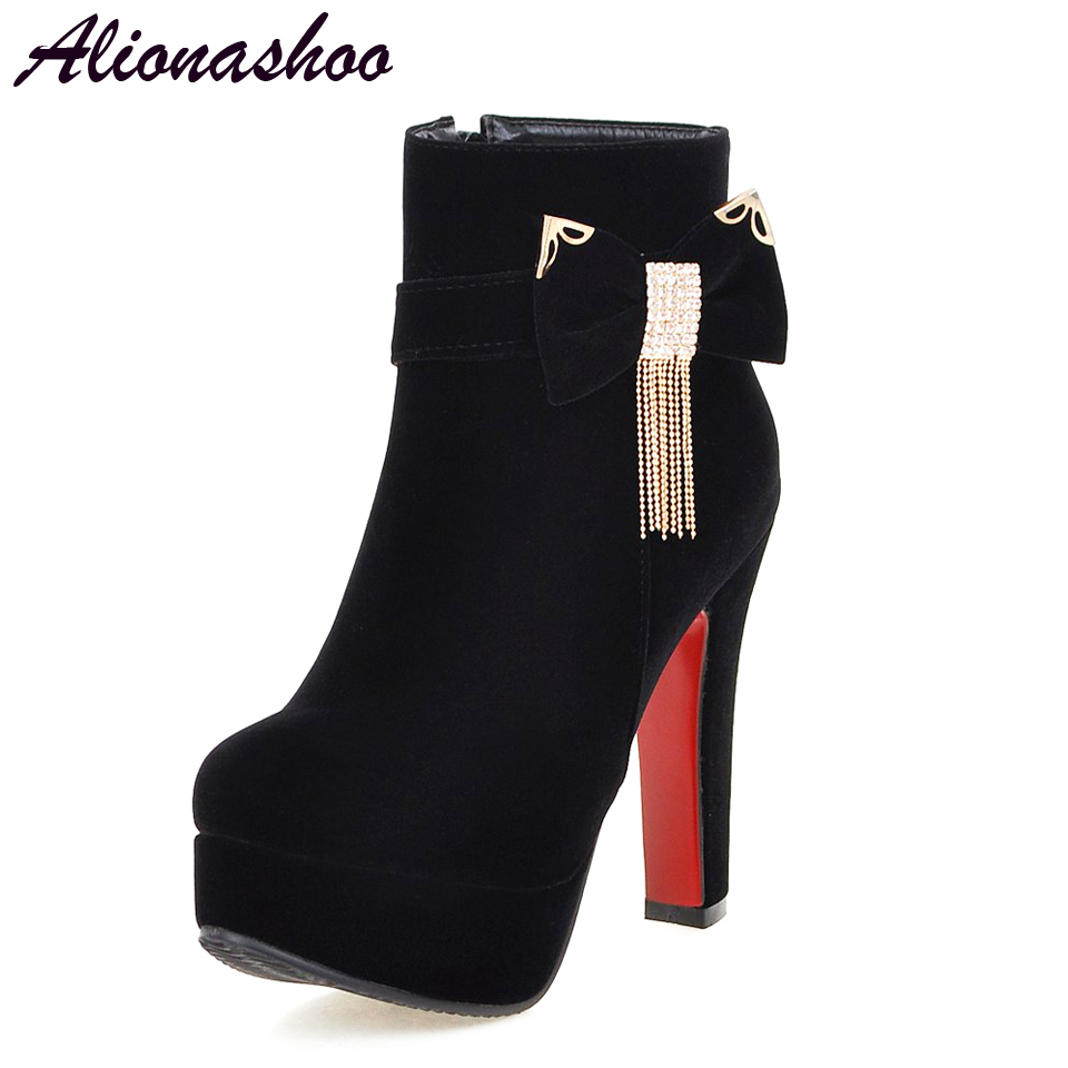 Women Shoes Alionashoo Ankle-Boots Platform-Fringe High-Heels Female Plus-Size Winter