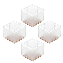 4pcs Square Shape Transparent PVC Table Chair Leg Foot Protect Pad Cover Non Slip Furniture Legs Feet protection Protector 2019(China)