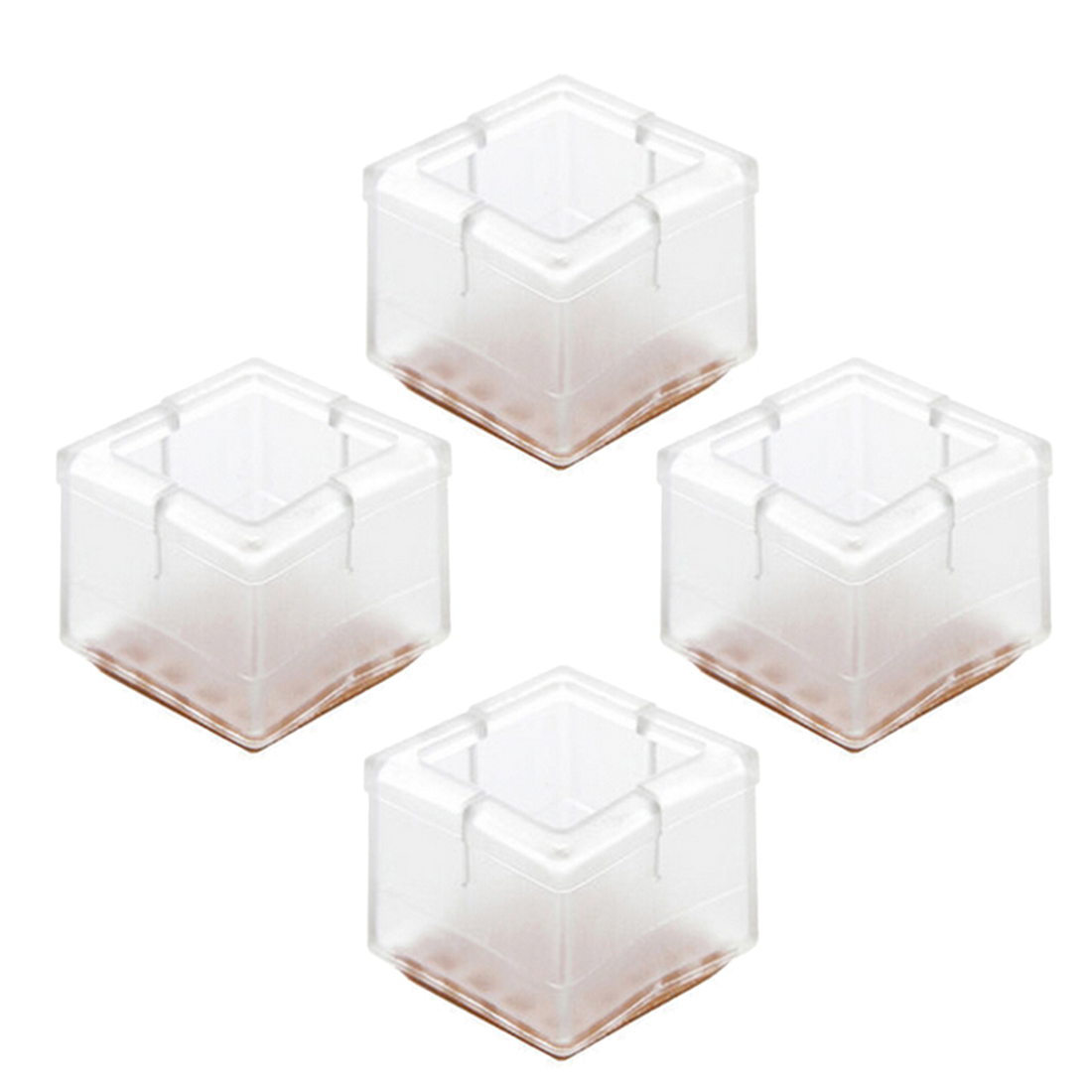 4pcs Square Shape Transparent PVC Table Chair Leg Foot Protect Pad  Cover Non Slip Furniture Legs Feet Protection Protector 2019