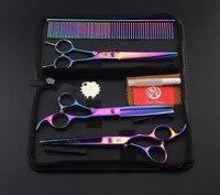 7.0 cal Kolorowe Poszycia Pet Dog Grooming Scissors Kit Prosto Przerzedzenie Nożyce Nożyce Podnośniki Curved + Grzebień Włosów Narzędzia Tnącego