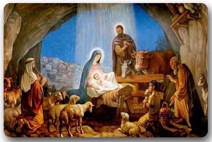 Weihnachten Krippe Bilder.Us 13 59 32 Off Speicher Hause Weihnachten Krippe Heiligen Familie Baum Drei Wisemen Weihnachten Rechteck Einfahrten Rutschfeste Fußmatte