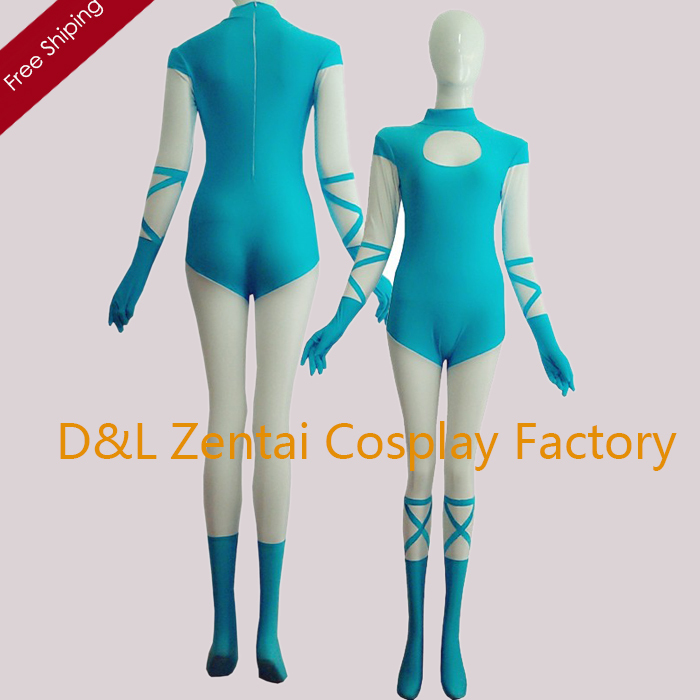 Free Shipping DHL Sexy Blue And Flesh Full Body Lycra Catsuit For Woman Spandex Bodysuit No Hood LL1301