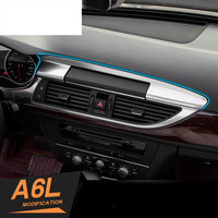 Center Console Navigation Panel Decal Cover Trim Stainless Steel Interior Molding 3D Sticker Refit for Audi A6 C7 2012 2016 Year