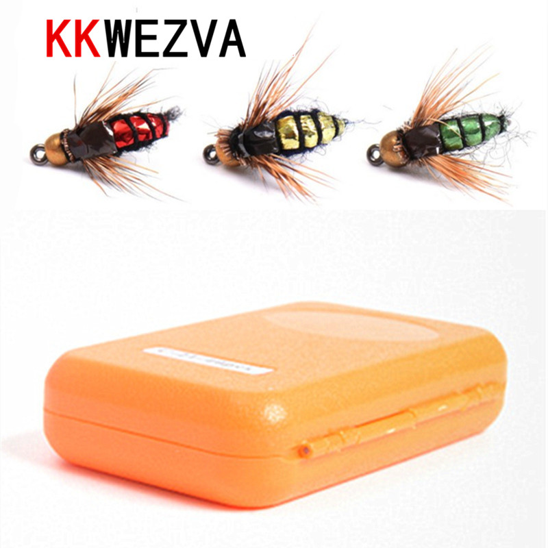 KKWEZVA 40pcs Fly fishing Lure Hooks And box Bee Insects Style Salmon Flies Trout Single Dry Fly Fishing Lakes Fishing Tackle
