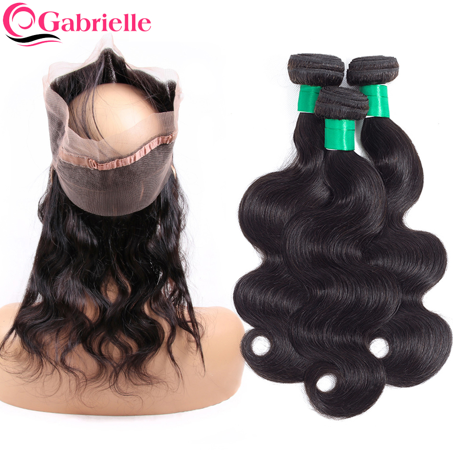 Gabrielle Indian Body Wave Pre plucked 360 Lace Frontal with Bundles 8 26 Human Hair Weave